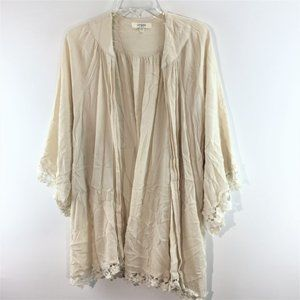 Umgee lace trim poen front 3/4 sleeves cover up